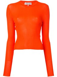 Emilio Pucci Knitted Fitted Top Women Rayon L Yellow Orange