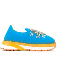 Dolce And Gabbana Embellished Slip On Espadrille Sneakers Blue