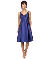 Adrianna Papell V Neck Beaded Mikado Dress Deep Blue Women's Dress