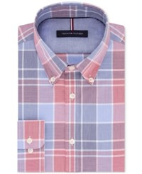 Tommy Hilfiger Men's Slim Fit Soft Touch Non Iron Performance Red And Blue Plaid Dress Shirt Brick
