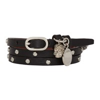Alexander Mcqueen Black And Silver Studded Multi Wrap Bracelet
