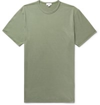 Sunspel Pima Cotton Jersey T Shirt Army Green