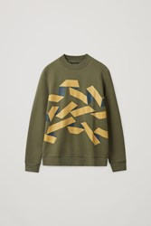 Cos Graphic Print Sweater Green