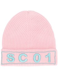 Semicouture Logo Embroidered Hat Pink And Purple