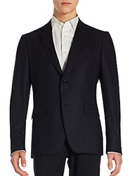 John Varvatos Solid Single Breasted Long Sleeve Blazer Midnight