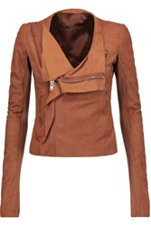 Rick Owens Wool Trimmed Suede Biker Jacket Chocolate