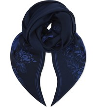 The Kooples Floral Modal And Wool Blend Scarf Bluc4