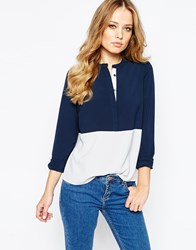 Y.A.S Tall Color Block Blouse Navy