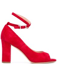 Unutzer Peep Toe Pumps Red