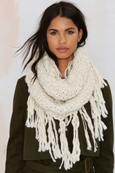 Nasty Gal Fringe With Benefits Infinity Scarf White