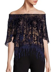 Elie Tahari Calliope Metallic Off The Shoulder Blouse Blue Gold