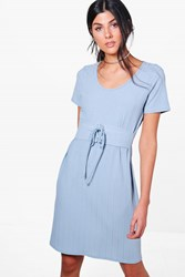 Boohoo Rib Knit Corset T Shirt Dress Pale Blue