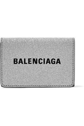 Balenciaga Everyday Printed Glittered Leather Wallet Silver