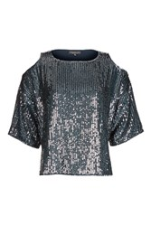 Topshop Tall Double Layered Sequin Cold Shoulder Top Navy Blue
