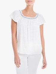 Max Studio Square Neck Embroidered Top White