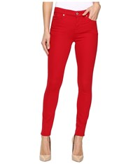 7 For All Mankind The Ankle Skinny W Contour Waist Band In Fruit Punch Fruit Punch Women's Jeans Red