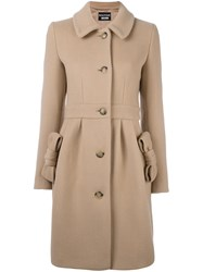Boutique Moschino Bow Detail Coat Nude And Neutrals