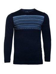 Raging Bull Men's Fairisle Panel Sweater Navy
