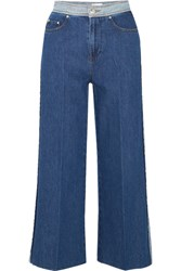 Red Valentino Redvalentino Cropped High Rise Wide Leg Jeans Mid Denim