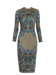 Givenchy Paisley Print Jersey Dress Blue Multi