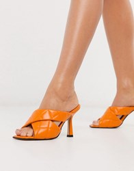 Topshop Quilted Heeled Mules In Tangerine Orange