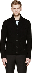 Burberry Black Cable Knit Cardigan