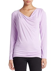 Lord And Taylor Petite Draped Neck Blouse Lavender