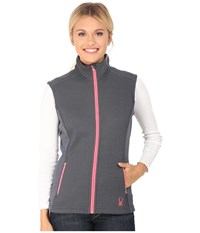Spyder Melody Full Zip Mid Weight Core Sweater Vest Depth Bryte Pink Women's Vest Black