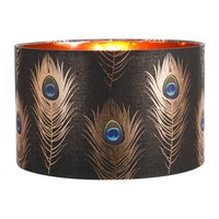 Mindthegap Peacock Feathers Drum Lamp Shade Brown Copper