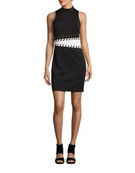Guess Eyelet And Lace Piano Sheath Dress Black White