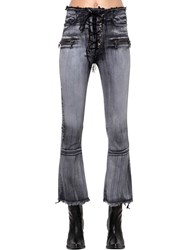 Unravel Lace Up Flared Cotton Denim Jeans Grey