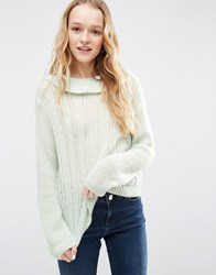Asos Jumper With Ruffle Neck In Mohair Yarn Mint Green