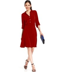 Ny Collection Petite Roll Tab Shirtdress Rich Red