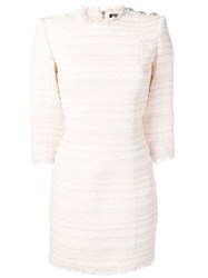 Balmain Tweed Fitted Dress Pink