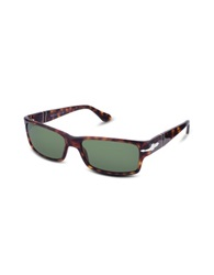 Persol Arrow Signature Rectangular Plastic Sunglasses Dark Tortoise Green