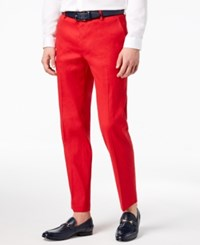 Inc International Concepts I.N.C. Men's Linen Stretch Slim Fit Pants Created For Macy's Licorice Red