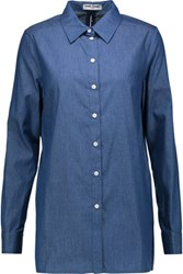 Opening Ceremony Open Back Cotton Chambray Shirt Blue