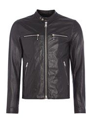 Replay Men's Zip Front Biker Jacket Black
