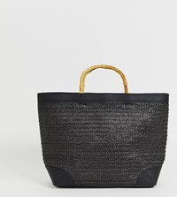 Stradivarius Shopper With Wooden Handles In Black