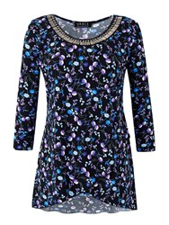 Grace Made In Britain Print Tunic Top Purple