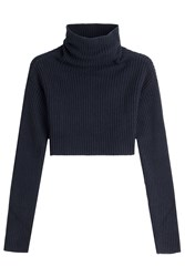 Valentino Cropped Turtleneck Pullover With Virgin Wool And Cashmere Blue