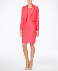 Le Suit Textured Jacket And Sheath Dress Sunkist Coral