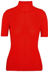 Victoria Beckham Ribbed Pointelle Knit Turtleneck Top Tomato Red