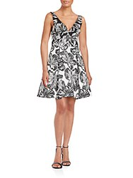 Vera Wang Floral Printed Fit And Flare Dress Ivory Grey