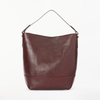John Lewis Sawyer Leather Large Contrast Colour Tote Bag Chestnut