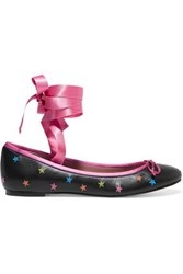 Red Valentino Satin Trimmed Embroidered Leather Ballet Flats Black
