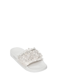 Msgm 10Mm Beaded Nylon Slide Sandals White