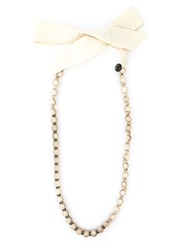 Lanvin Vintage Faux Pearl Necklace Nude And Neutrals