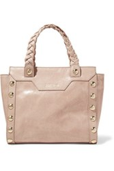 Just Cavalli Embellished Cracked Leather Tote Taupe