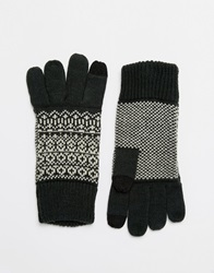Asos Touch Screen Gloves In Green Fair Isle Palm Print
